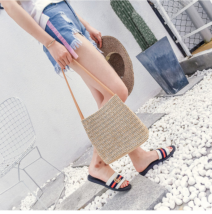 shoulder exclusive Summer beach Straw bags