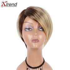 Xtrend 6inch 110g Synthetic Short Straight Hair Wigs For Women Ombre Brown Cosplay Wig Short Bob Wigs High Temperature Fiber