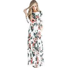 Women summer dresses long sleeve elastic waist flower