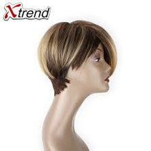 Load image into Gallery viewer, Xtrend 6inch 110g Synthetic Short Straight Hair Wigs For Women Ombre Brown Cosplay Wig Short Bob Wigs High Temperature Fiber