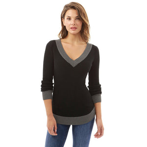 Women V Neck Long Sleeve Casual Curve Sweater