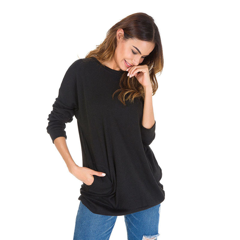 Plus Size Basic Blouse Pullover Shirt Casual