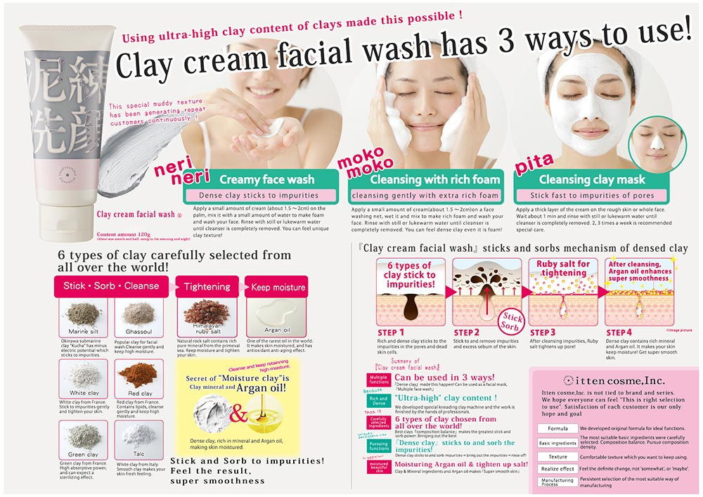 itten cosme Clay Pack Face Wash Brochure