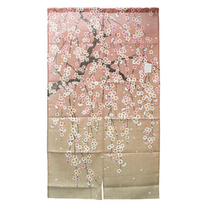 Noren (Shop Curtain) - Sakura, Shidare-Zakura, Weeping cherry blossoms, Gradation, 85 x 150cm