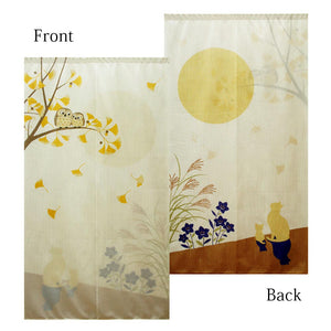 Noren (Shop Curtain) -  Owl and moon-viewing cat, Both sides, 85 x 150cm