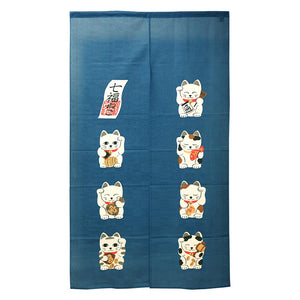 Noren (Shop Curtain) - Seven Lucky Cats, Blue, 85 x 150cm