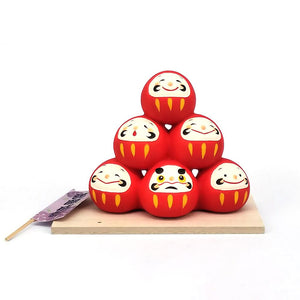 Daruma Mountain, Wishing doll to achieve goals, Pass exam, Get a promotion, Red Front View