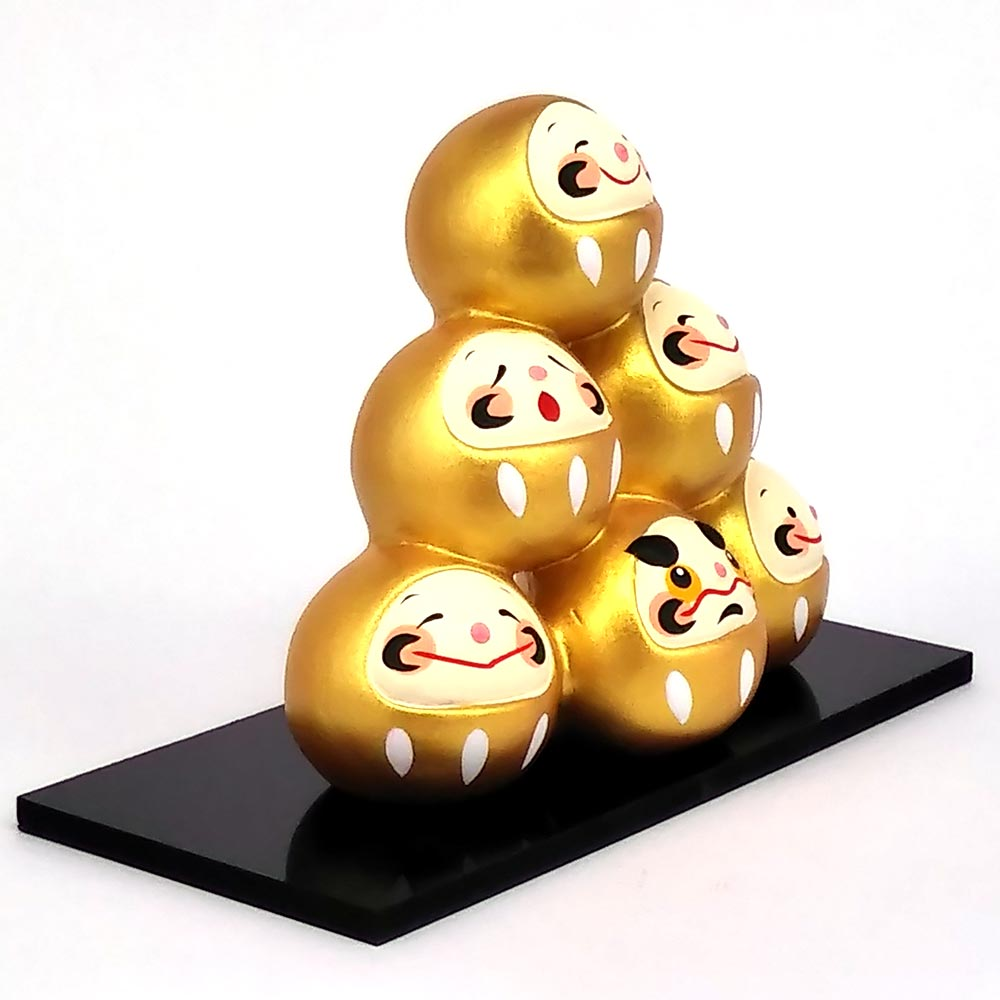 Daruma Mountain, Wishing doll to achieve goals, Pass exam, Get a promotion, Gold Left View