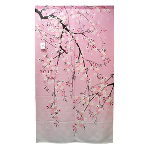 Noren (Shop Curtain) - Sakura, Shidare-Zakura, Weeping cherry blossoms, 85 x 150cm