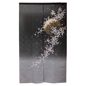 Noren (Shop Curtain) -  Sakura, Yozakura, The cherry blossoms and moonlight night, 85 x 150cm