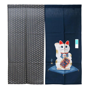 Noren (Shop Curtain) - Lucky cat, 90 x 100cm