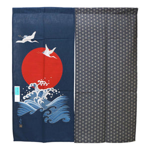 Noren (Shop Curtain) - Sunrise, crane and ocean waves, 90 x 100cm