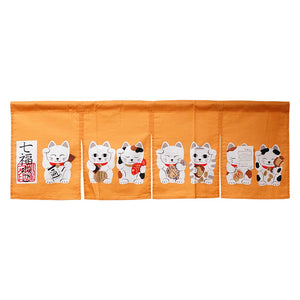 Noren (Shop Curtain) - Seven Lucky Cats, Orange, 85 x 30cm