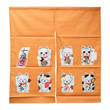 Noren (Shop Curtain) - Seven Lucky Cats, Orange, 85 x 90cm