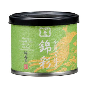 "Canned Matcha with Gold Flakes ""KINSAI"" 15g, Japanese Tea from Kyoto"