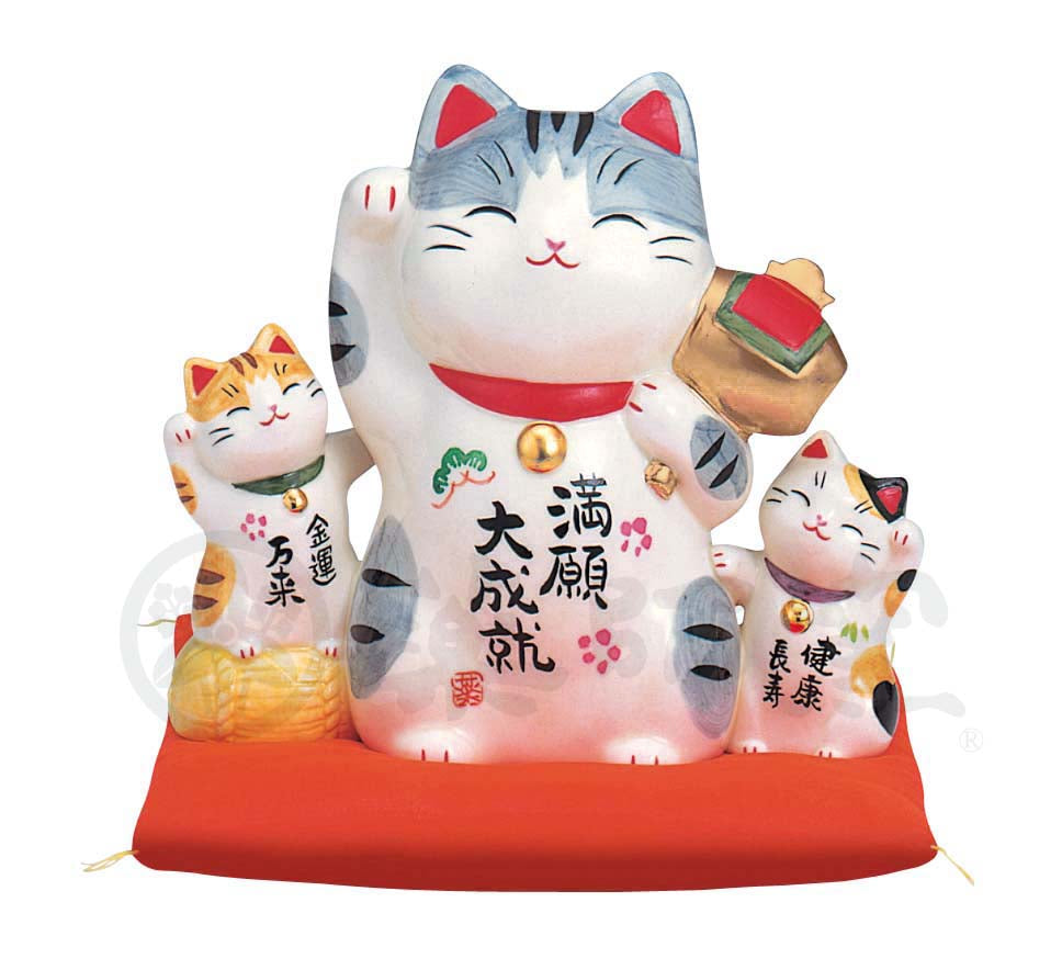 Maneki-neko, H12.5cm, Silver Tabby Cat, Right Paw Up, Fulfilment of a Vow, Lucky Cat / Fortune Cat
