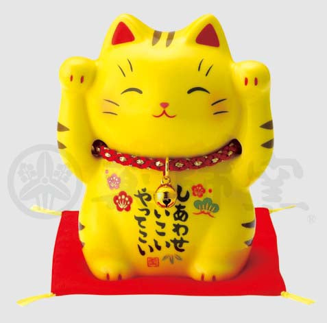 Maneki-neko, H9cm, Yellow Tabby Cat, Both Paws Raised, Invites Happiness, Lucky Cat / Fortune Cat