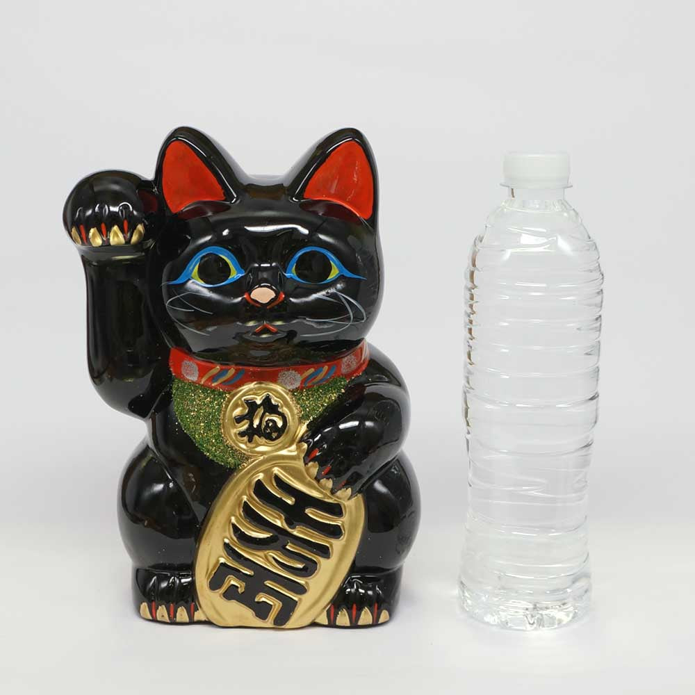 Tokoname-yaki Maneki-neko with Gold Coin, Piggy Bank, H23cm, Black Cat, Right Paw Raised, Invites Money, Warding Off Evil