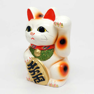 Tokoname-yaki Maneki-neko with Gold Coin, Piggy Bank, H19cm, Calico Cat, Left Paw Raised, Invites People, Happiness, Lucky Cat / Fortune Cat