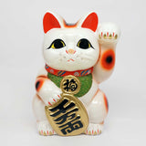 Tokoname-yaki Maneki-neko with Gold Coin, Piggy Bank, H25cm, Calico Cat, Left Paw Raised, Invites People, Happiness, Lucky Cat / Fortune Cat