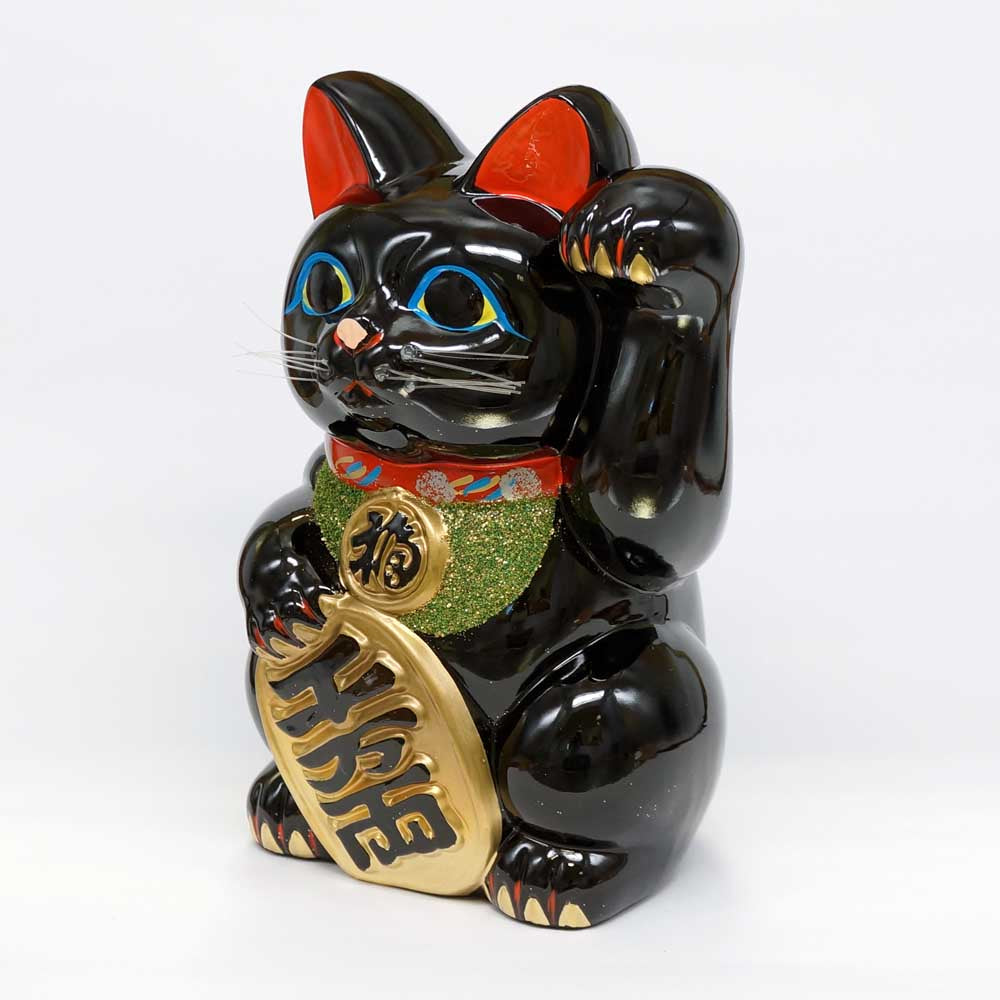 Tokoname-yaki Maneki-neko with Gold Coin, Piggy Bank, H25cm, Black Cat, Left Paw Raised, Invites People, Warding Off Evil