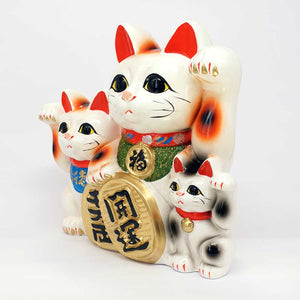 Tokoname-yaki, Family of 3 Maneki-neko with Gold Coin, Piggy Bank, H23cm, Calico Cat, Invites Money & People