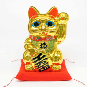 Tokoname-yaki Maneki-neko with Gold Coin, Piggy Bank, H19cm, Golden Cat, Left Paw Raised, Invites People, Invites Money
