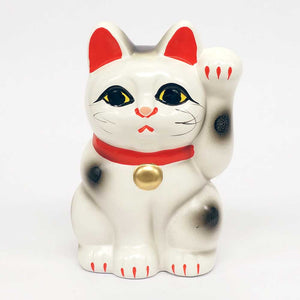 Tokoname-yaki Maneki-neko Piggy Bank, H10cm, Dilute Calico Cat, Left Paw Raised, Invites People, Happiness, Lucky Cat / Fortune Cat
