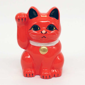 Tokoname-yaki Maneki-neko Piggy Bank, H10cm, Red Cat, Right Paw Raised, Invites Money, Health, Lucky Cat / Fortune Cat