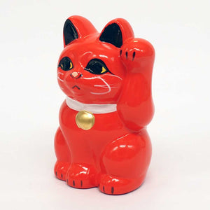 Tokoname-yaki Maneki-neko Piggy Bank, H10cm, Red Cat, Left Paw Raised, Invites People, Health, Lucky Cat / Fortune Cat