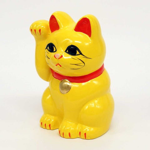 Tokoname-yaki Maneki-neko Piggy Bank, H10cm, Yellow Cat, Right Paw Raised, Invites Money, Marriage, Lucky Cat / Fortune Cat