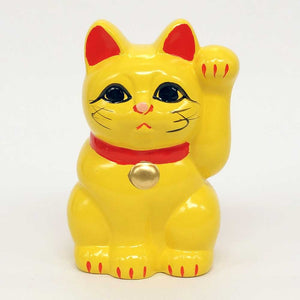 Tokoname-yaki Maneki-neko Piggy Bank, H10cm, Yellow Cat, Left Paw Raised, Invites People, Marriage, Lucky Cat / Fortune Cat