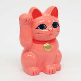 Tokoname-yaki Maneki-neko Piggy Bank, H10cm, Pink Cat, Right Paw Raised, Invites Money, Love Luck, Lucky Cat / Fortune Cat