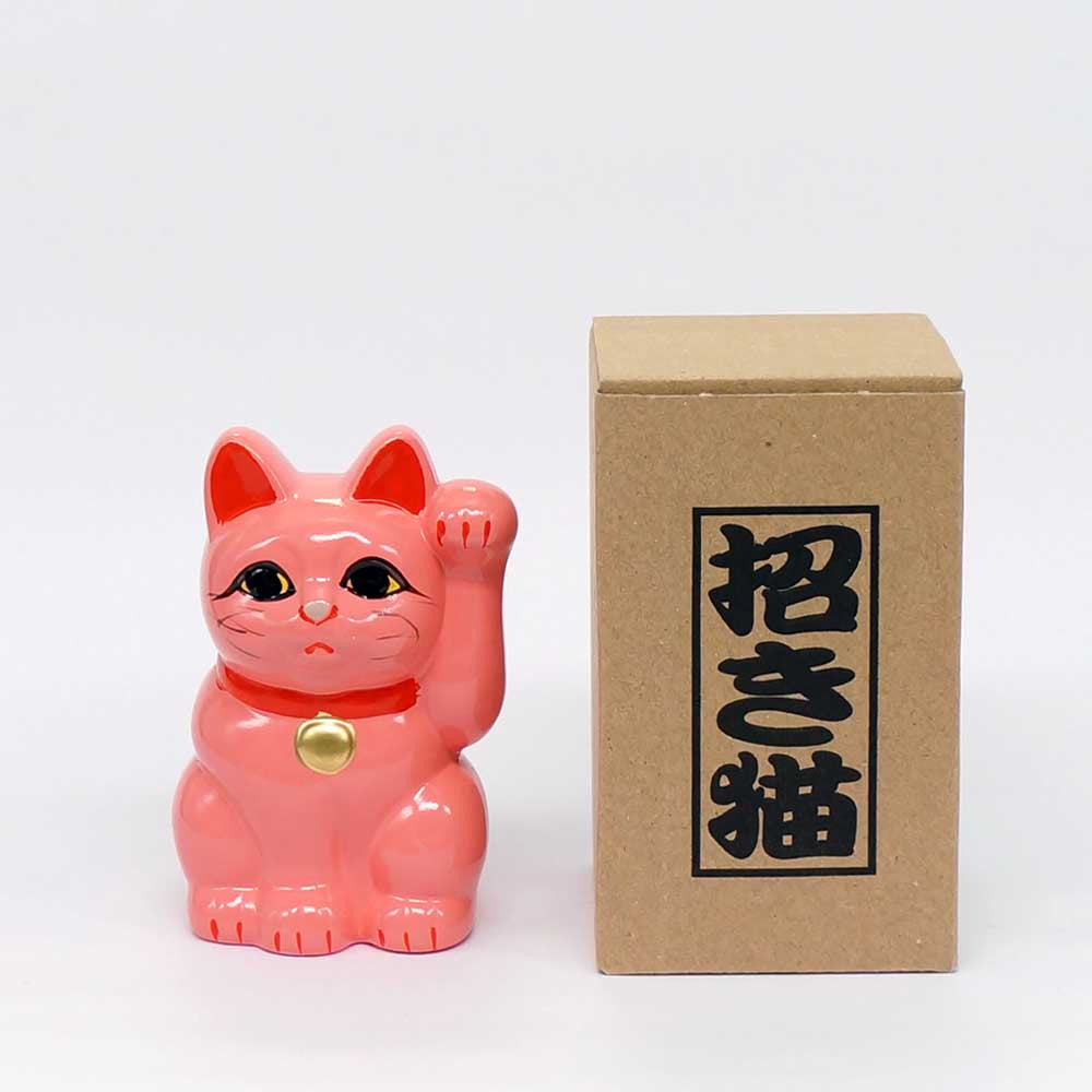 Tokoname-yaki Maneki-neko Piggy Bank, H10cm, Pink Cat, Left Paw Raised, Invites People, Love Luck, Lucky Cat / Fortune Cat