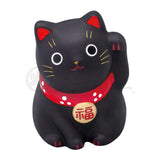 Small Maneki-neko on Mat, H5.5cm, Black, Left Paw Up, Peace and prosperity in the household, Lucky Cat / Fortune Cat