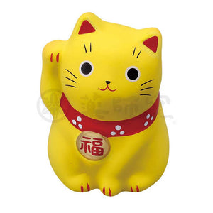 Small Maneki-neko on Mat, H5.5cm, Yellow, Right Paw Up, Invites Money, Economic Fortune, Lucky Cat / Fortune Cat