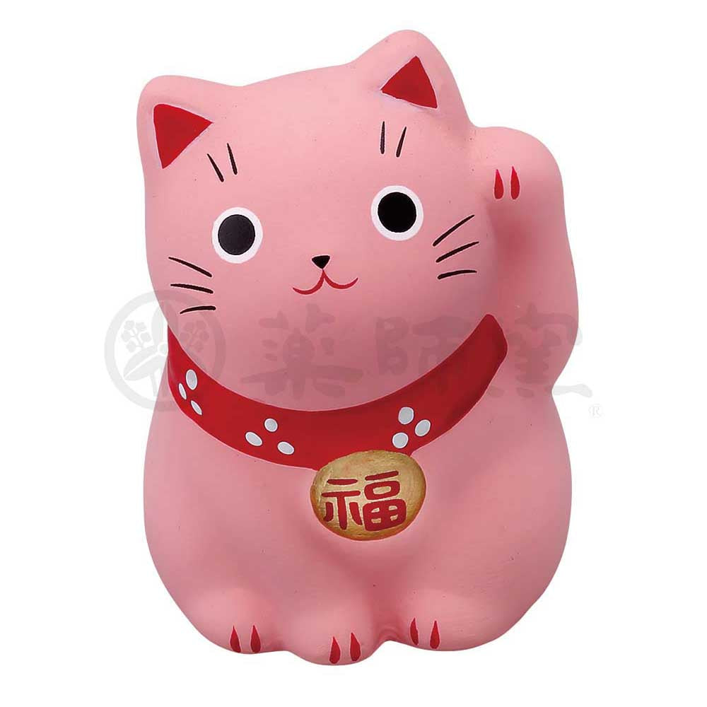 Small Maneki-neko on Mat, H5.5cm, Pink, Left Paw Up, Invites Love Luck, Fulfillment in Love, Lucky Cat / Fortune Cat