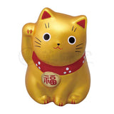 Small Maneki-neko on Mat, H5.5cm, Gold, Right Paw Up, Invites Money, Wealth and Prosperity, Success in life, Lucky Cat / Fortune Cat