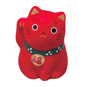 Small Maneki-neko on Mat, H5.5cm, Red, Right Paw Up, Keeping Good Health, Lucky Cat / Fortune Cat