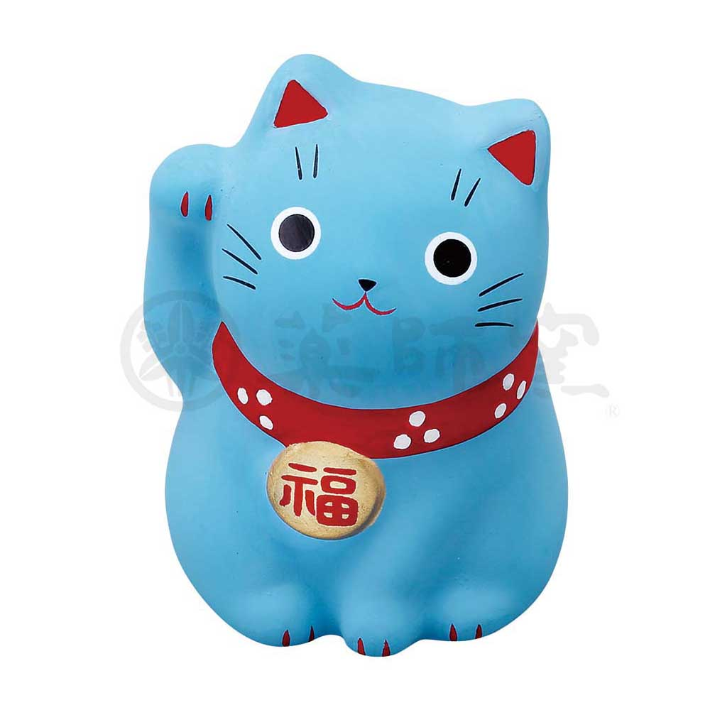 Small Maneki-neko on Mat, H5.5cm, Blue, Right Paw Up, Health and Longevity, Lucky Cat / Fortune Cat