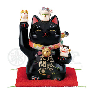 Maneki-neko with Chirimen Collar, H11.5cm, Black Cat, Right Paw Up, Warding Off Evil,  Better Fortune, Lucky Cat / Fortune Cat