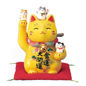 Maneki-neko with Chirimen Collar, H11.5cm, Yellow Cat, Right Paw Up, Economic Fortune, Better Fortune, Lucky Cat / Fortune Cat