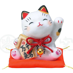 Maneki-neko, H8cm, Calico Cat, Left Paw Up, Invites Customers, Lucky Cat / Fortune Cat
