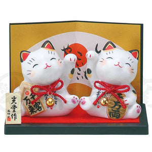 Maneki-neko Set of 2, H8cm, Calico Cat, Right Paw Up, Invites Money / Left Paw Up, Invites Customers, Lucky Cat / Fortune Cat