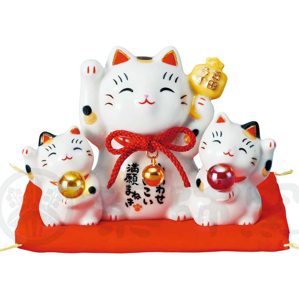 Family of 3 Maneki-neko, H8cm, Calico Cat, Both Paws Raised, Fulfilment of a Vow, Lucky Cat / Fortune Cat