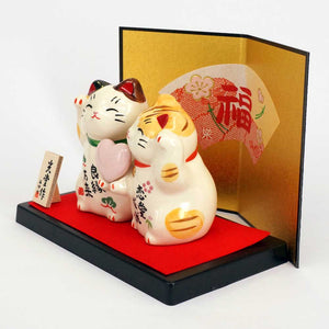 Couple Maneki-neko Holding Heart, Invites Love Luck, Good Affinity, Calico Cat, Orange Tabby, Lucky Cat / Fortune Cat