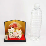 Couple Maneki-neko Holding Heart, H7cm, Calico Cat, Orange Tabby, Invites Love Luck, Good Affinity, Lucky Cat / Fortune Cat