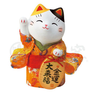 Maneki-neko in Kimono, H10cm, Calico Cat, Right Paw Up, Invites Money, Economic Fortune, Lucky Cat / Fortune Cat