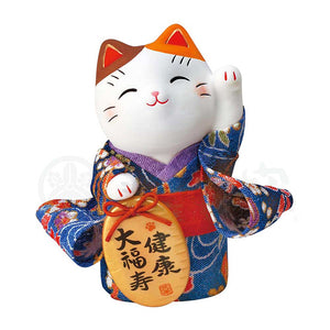 Maneki-neko in Kimono, H10cm, Brown and White Bicolor Cat, Left Paw Up, Invites Wellness, Lucky Cat / Fortune Cat