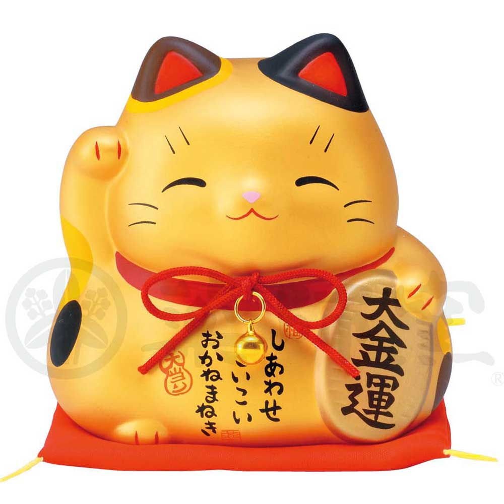 Maneki-neko Piggy Bunk, H9.5cm, Gold, Right Paw Up, Invites Money, Economic Fortune, Lucky Cat / Fortune Cat